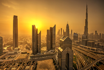 Fototapete - Dubai sunset panoramic view of downtown.
