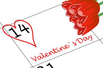 Valentin`s Tag Kalendertag mit Herz und Blumen