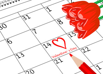 Valentin`s Tag Kalenderseite mit Herz Blumen und Stift