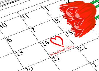 Valentin`s Tag Kalenderseite mit Herz und Blumen