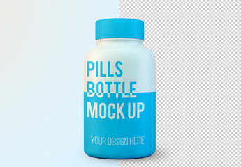 Large Pill Bottle Mockup
