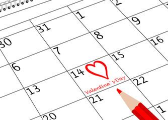 Valentin`s Tag Kalenderseite mit Herz und Stift
