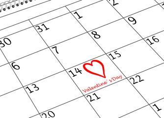 Valentin`s Tag Kalenderseite mit Herz und Schriftzug