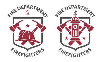 Red vintage fireman pictograms in grey shield