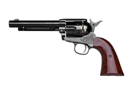 classic pistol revolver isolated on white