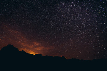 Night in Wadi Rum valley in Jordan, also known as valley of lights or valley of sand