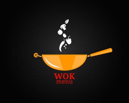 frying pan design menu background chef cooking