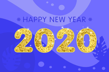Gold text 2020 on abstract background for Happy New Year