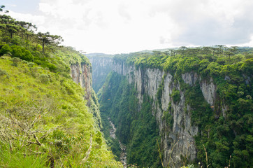 Beautiful landscape of Itaimbezinho Canyon and green rainforest, Cambara do Sul, Rio Grande do Sul, Brazil