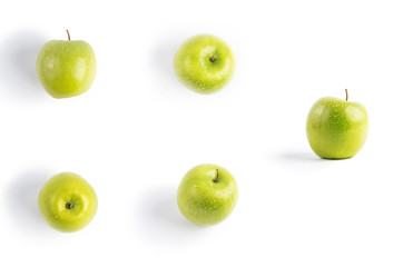 green Apple on white background. a bitten Apple. isolate