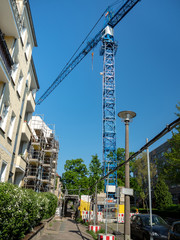 Crane on construction of new building