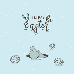 Easter Rabbit in Hole with Eggs
