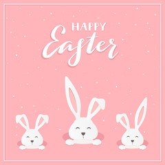 Happy Easter rabbits on pink background