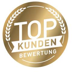 goldener Button mit Schrift Top Kundenbewertung