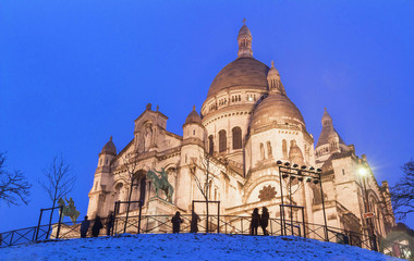 The basilica Sacre Coeur in winter Paris, France.