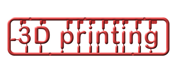 Abstract plastic kit, text 3d printing