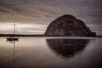 Morro Rock on cloudy day