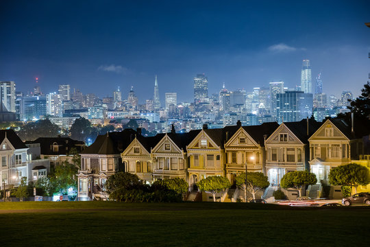San Francisco skyline with Painted Ladies in foreground