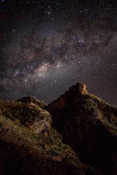 Inca ruins against the night sky