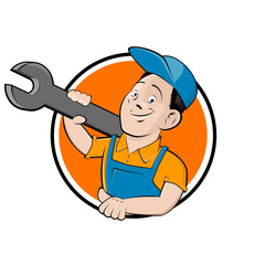 funny company sign with happy craftsman holding a wrench