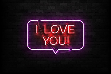 Vector realistic isolated neon sign of I Love You logo for template decoration and covering on the wall background. Concept of Happy Valentines Day.