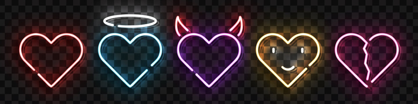 Vector set of realistic isolated neon sign of Heart logo for template decoration and layout covering on the transparent background. Concept of Happy Valentines Day.