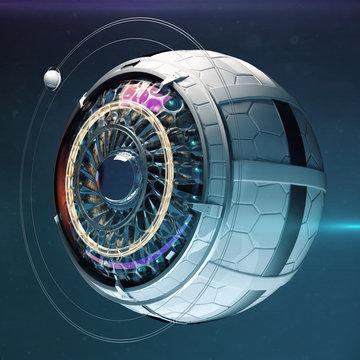 Stylized robotic eye 3d render. Image recognition computer vision neural network deep learning concept illustration