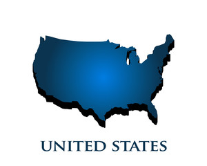 United States Country 3D Map. Vector Illustration