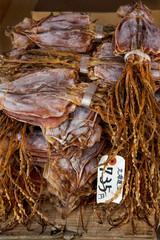 Dried squid, surume, market, Nakanobu, Tokyo, Japan