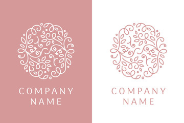 Linear logo of leaves and curls. Unique emblem design for wedding salon, boutique, flower shop, cosmetic products