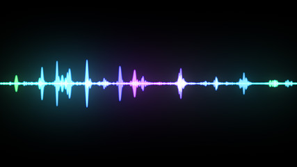 Multicolor waveform spectrum, imagination of voice record, artificial intelligence, 3d illustration