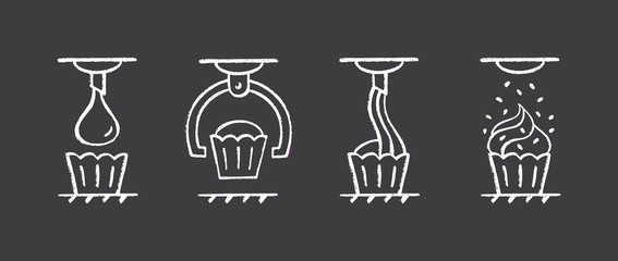 Set of icons of food processing industry. Automated line of confectionery at the factory. Vector illustration in chalk lettering style