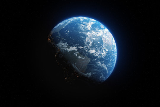 Glow planet Earth view from dark space 3d illustration