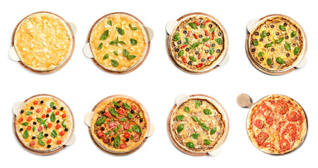 Set of different hot pizzas with delicious melted cheese on white background, top view