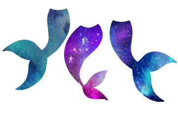 Cosmos space mermaid tails isolated on white, illustration.