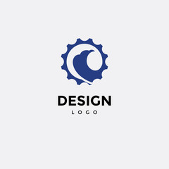 Vector logo design, eagle symbol icon, and gear