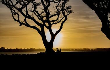 A Couple Enjoys the Sunset on San Diego Bay