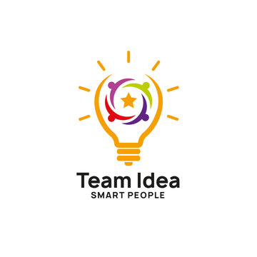 teamwork creative idea logo design template. bulb icon symbol design