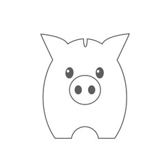 Flat icon piggy bank isolated on Blue background. Vector illustration.