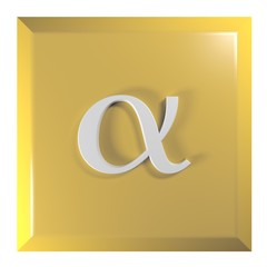 Push button square, yellow with alpha sign - 3D rendering illustration