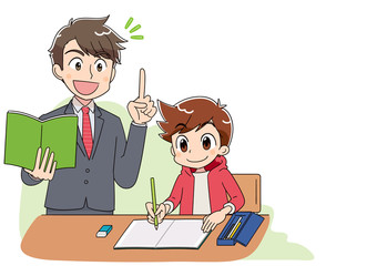 小学生 子ども 男の子 勉強(アニメ・ゲーム風テイスト)