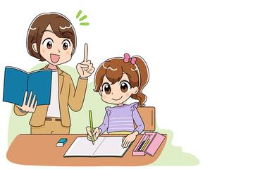 小学生 子ども 女の子 勉強(アニメ・ゲーム風テイスト)