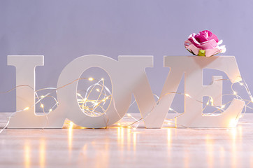 White love text wood and led light with pink rose.