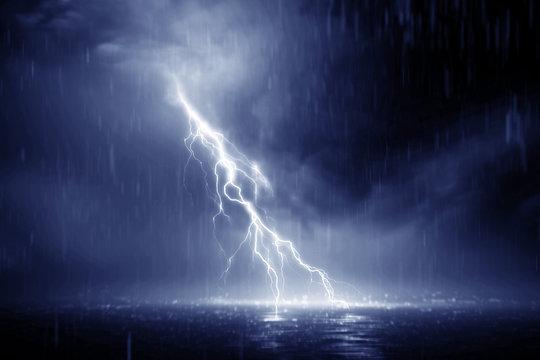 Lightning storm 3d rendering over Black sea near