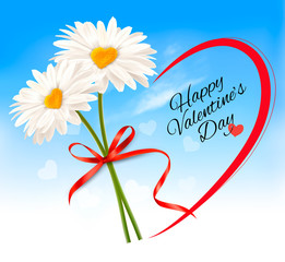 Fototapete - Valentine's Day background Two daisies with heart shaped middles and red ribbon. Vector.