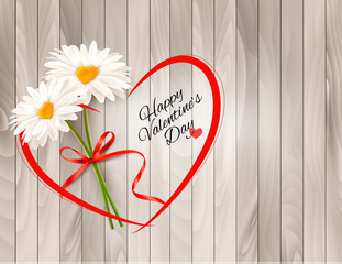 Wall Mural - Valentine's Day background Two daisies with heart shaped middles on wooden background. Vector.