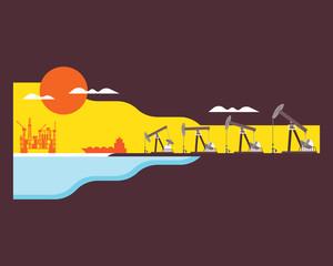 oil rig, crude oil plant