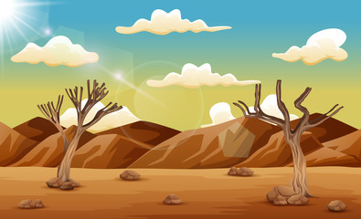 Desert landscape with dry tree and mountain