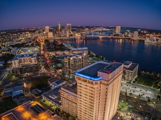 Aerial View of Jacksonville, Florida in Winter at Sunset