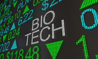 Bio Tech Health Care Stock Market Ticker Words 3d Illustration